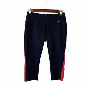 Nike Dri Fit Black Red Striped Workout Capri Pants